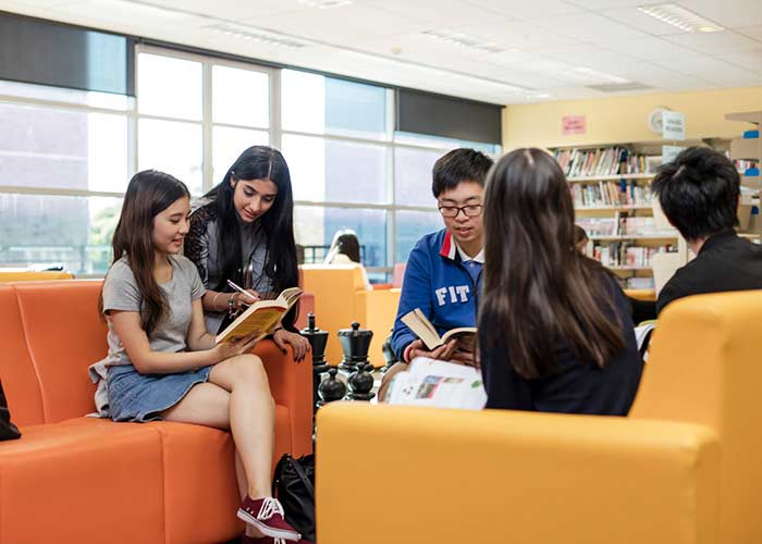 Students reading in the Taylors High School library - which has over 26,000 resources including books, magazines, language tapes, and so much more.