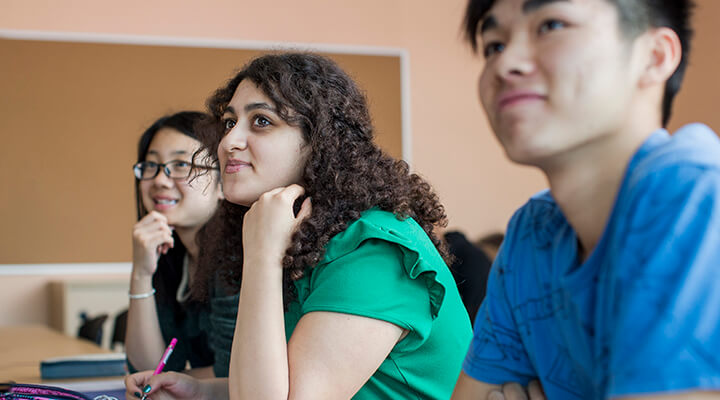 Taylors High School students paying attention to their teacher during an English class.