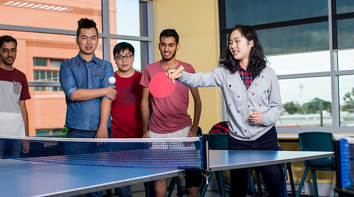 Taylors High School students playing table tennis